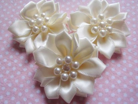 5 X 1.5 INCH SATIN IVORY RIBBON FLOWER EMBELLISHMENT PERFECT HEADBANDS SOCKS HAIR BOWS CARD MAKING